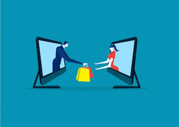 Pani kupuje przez zakupy online na laptopie lub e-commerce na niebiesko