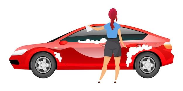 Pani myjąca samochód płaski kolor bez twarzy. młoda kobieta polerujący sedan z szmatą na białym tle kreskówka do projektowania graficznego i animacji internetowej. dziewczyna w ubranie czyszczenia auto