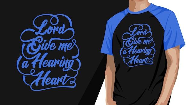 Panie daj mi projekt koszulki z typografią serca ze słyszeniem