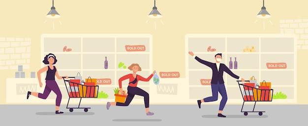 Panika kupowania. ludzie biegają z pełnym wózkiem w supermarkecie. histeria zakupowa klienta. rodzina robiąca zapasy do kwarantanny, ilustracja.