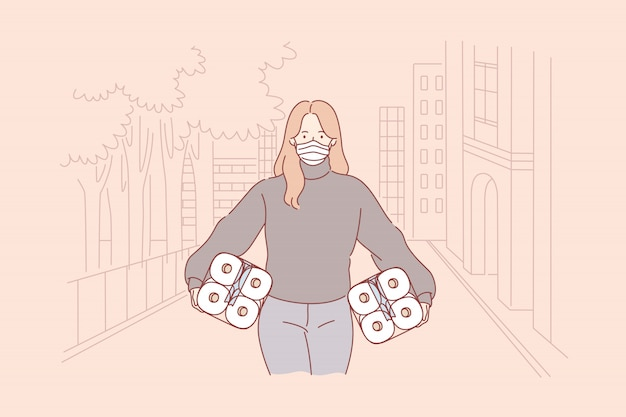 Panika, skup papieru toaletowego, covid19, infekcja, 2019ncov, koncepcja koronawirusa.