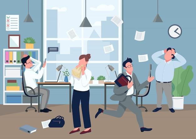 Panika w biurowej płaskiej kolor ilustraci