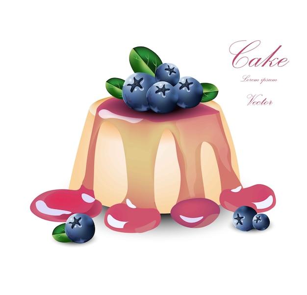 Panna cotta z syropem jagodowym. wektor desery ciasto