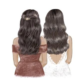 Panna młoda i druhna brunetki z jasnobrązową skórą ręcznie rysowane ilustracja