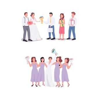 Panna młoda i pan młody z gośćmi płaski zestaw znaków bez twarzy. mąż, żona przyjmują prezenty. wesele ilustracja kreskówka na białym tle