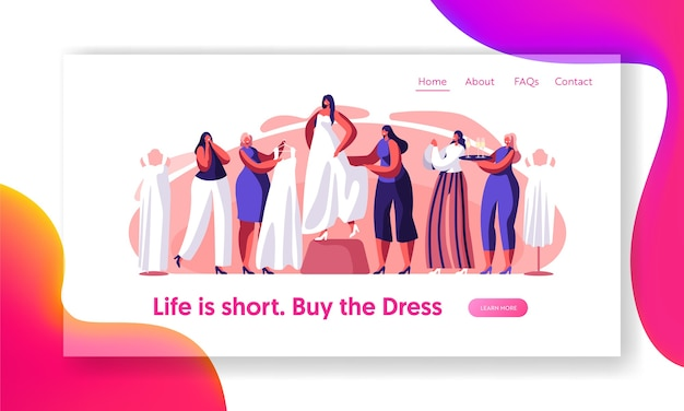 Panna młoda przymierzy stronę docelową białej sukni ślubnej. przygotuj się na szczęśliwą ceremonię małżeństwa. druhna pomoc wybierz śliczną suknię. tradycyjna witryna lub strona internetowa z zakupami ślubnymi. ilustracja wektorowa płaski kreskówka