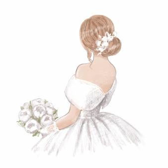 Panna młoda z bukietem. ręcznie rysowane ilustracja w klasycznym stylu vintage