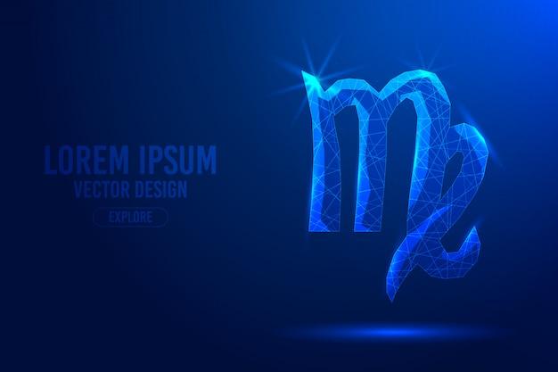 Panna szósty znak zodiaku streszczenie tło. liniowa i wielokątna koncepcja horoskopu 3d, konstelacja niebieska.