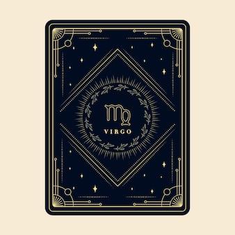 Panna znaki zodiaku horoskop karty gwiazdozbiory gwiazd ozdobna karta zodiaku z ozdobną ramką