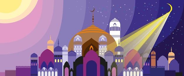 Panorama bajecznego arabskiego miasta. ilustracja wektorowa.