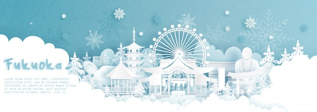 Panorama fukuoka, japonia w sezonie zimowym