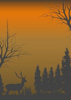 Panorama, gdy dzień zaczyna się ściemniać w dzikim życiu