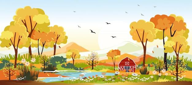 Panorama krajobrazy wsi na jesieni. panoramiczny z połowy jesieni z farmą w żółte liście. krajobraz krainy czarów w sezonie jesiennym.