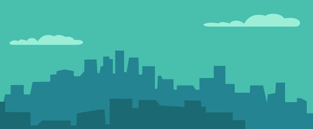 Panorama miasta nocą i niebo z chmurą. ilustracja wektorowa płaski poziomy kolor. na baner