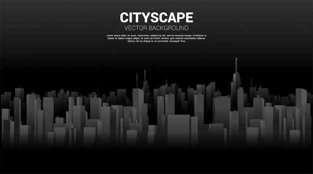 Panorama miasta tło budynku z światła i cienia. tło dla wielkiego miasta i miejskiego życia.