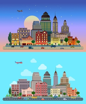 Panorama miasta wieżowce niebo w tle dzień noc