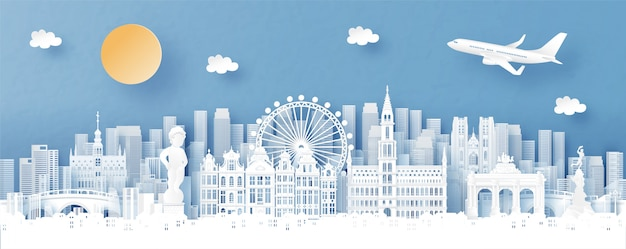 Panorama miasta z panoramą brukseli, belgii i miasta ze słynnymi zabytkami