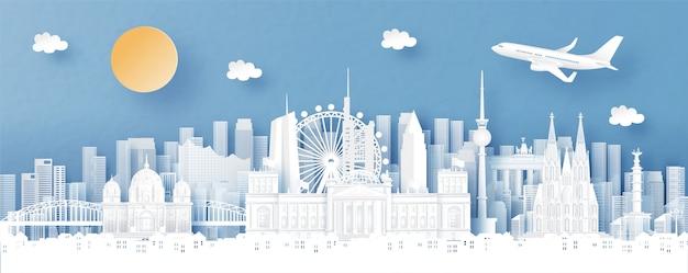Panorama miasta z widokiem na panoramę berlina, niemiec i miasta ze słynnymi zabytkami świata