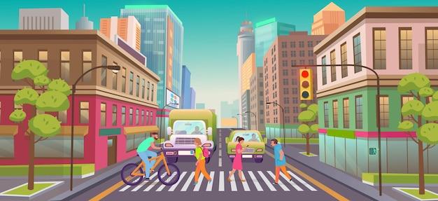 Panorama miasta ze sklepami, budynkiem, skrzyżowaniem i sygnalizacją świetlną.