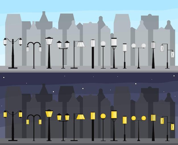 Panorama miasta. zestaw latarni ulicznych. oświetlenie miasta. sylwetki budynków w dzień iw nocy. lampy elektryczne. ilustracja wektorowa.