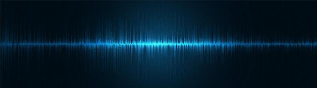 Panorama niebieskie światło cyfrowe fale dźwiękowe w tle