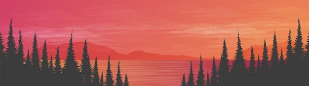 Panorama piękne morze na tle krajobrazu, słońce i zachód słońca projekt koncepcyjny