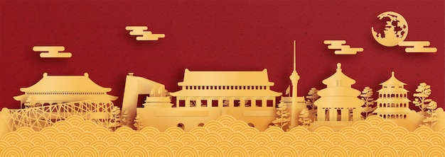 Panorama pocztówka i plakat podróż światowej sławy zabytków pekinu, chiny