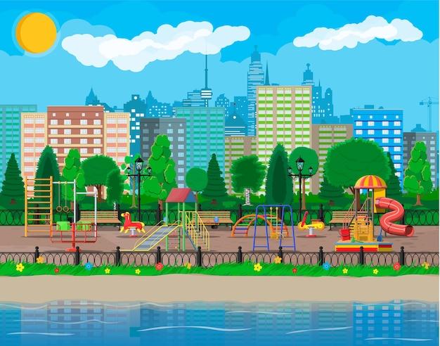 Panorama przedszkola plac zabaw dla dzieci. miejska rozrywka dla dzieci.