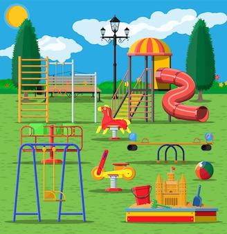 Panorama przedszkola plac zabaw dla dzieci.