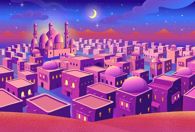 Panorama starożytnego miasta arabskiego z domami i meczetem w nocy różowe miasto z perspektywą ilustracji wektorowych w stylu kreskówki