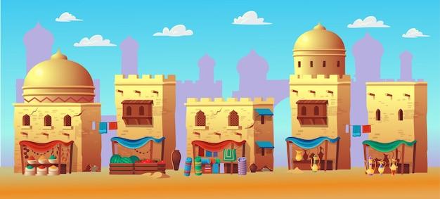 Panorama starożytnego miasta arabskiego z domami i rynkiem arabskim. w stylu kreskówki.