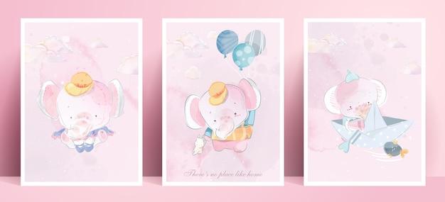 Panorama stylu życia akwarelowego życie codzienne słoń w ludzkich gestach romantyczna ilustracja w pastelowej tonacji kolorystycznej.