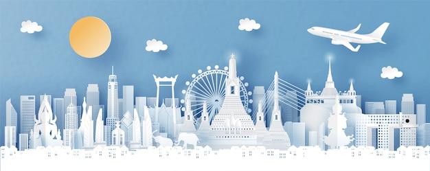 Panorama widok na panoramę bangkoku, tajlandii i miasta ze słynnymi zabytkami świata