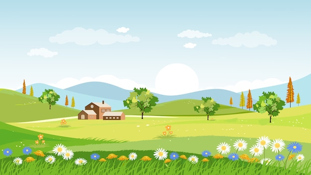 Panorama wiosną wioski