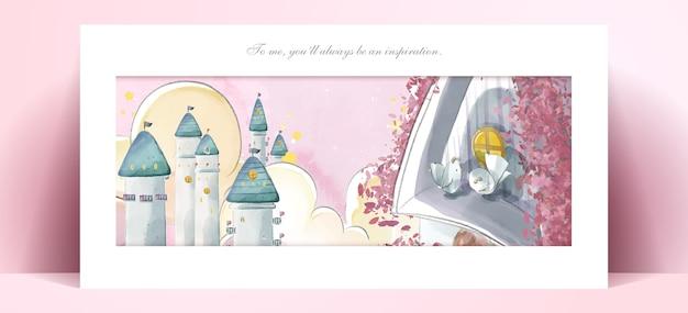 Panorama zamku akwarela malarstwo w romantycznej ilustracji pastelowych kolorach.
