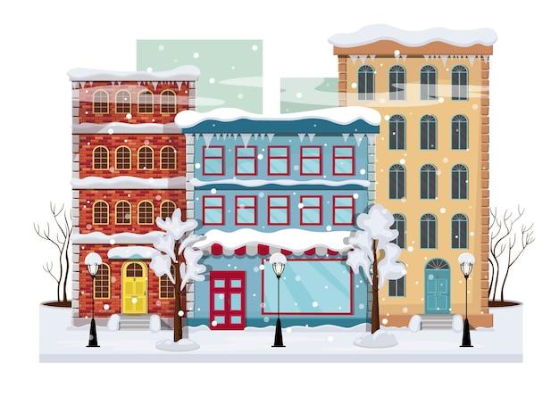 Panorama zimowego miasta z drzewami na śniegu, domami, latarniami, drogą.
