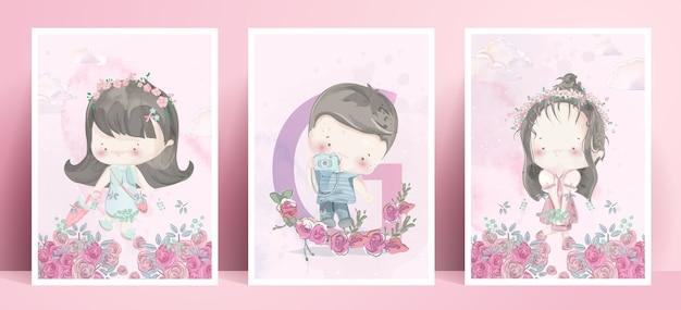 Panorama życia codziennego uroczego chłopca i dziewczyny w romantycznej ilustracji pastelowych kolorach.