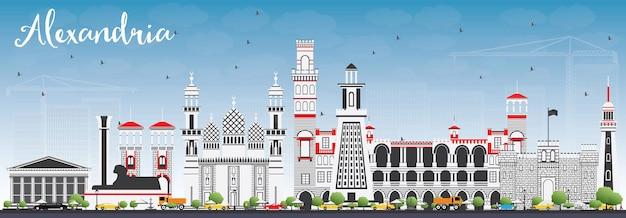 Panoramę aleksandrii z szarymi budynkami i błękitnym niebem. ilustracja wektorowa. podróże służbowe i koncepcja turystyki z zabytkową architekturą. obraz na baner prezentacyjny i witrynę internetową