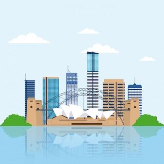 Panoramę australii, budynki miasta