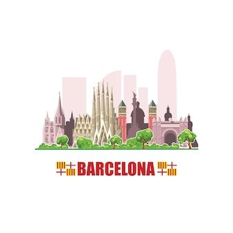 Panoramę barcelony. pejzaż miejski ze słynnymi budynkami architektonicznymi. na białym tle.