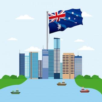 Panoramę budynków z flagą australii