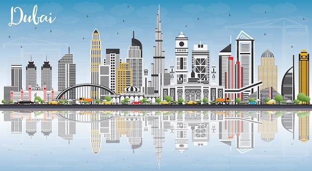 Panoramę dubaju zea z szarymi budynkami, błękitne niebo i odbicia ilustracji wektorowych