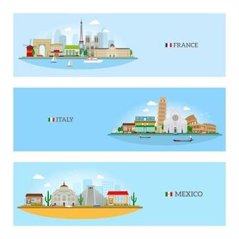 Panoramę francji, włoch i meksyku