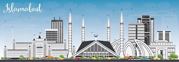 Panoramę islamabadu z szarymi budynkami i błękitnym niebem. ilustracja wektorowa. podróże służbowe i koncepcja turystyki z zabytkową architekturą. obraz banera prezentacji i witryny sieci web.