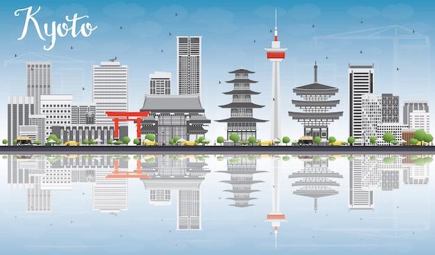 Panoramę kioto z szarymi punktami orientacyjnymi, błękitnym niebem i odbiciami.