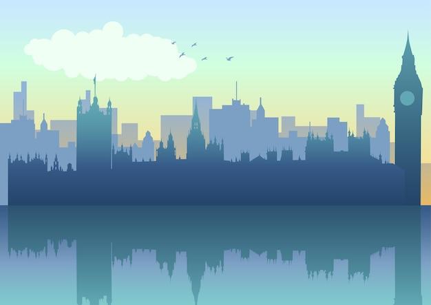 Panoramę londynu w sylwetce