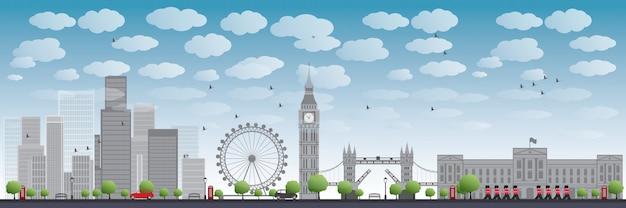 Panoramę londynu z drapaczami chmur i chmur