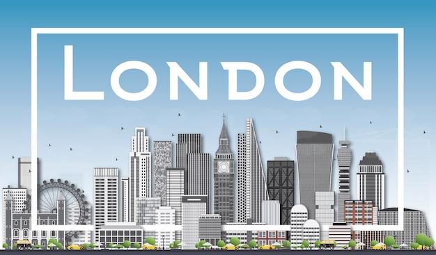 Panoramę londynu z szarymi budynkami i białą ramą