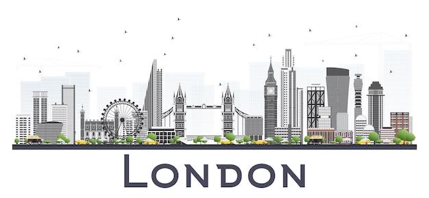 Panoramę londynu z szarymi budynkami na białym tle