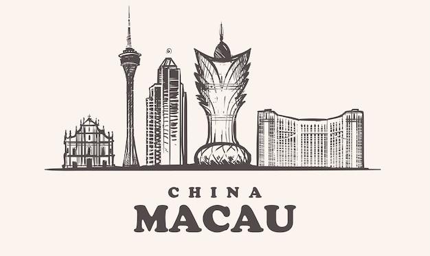 Panoramę makau, chiny vintage ilustracji, ręcznie rysowane budynki miasta makau, na białym tle.